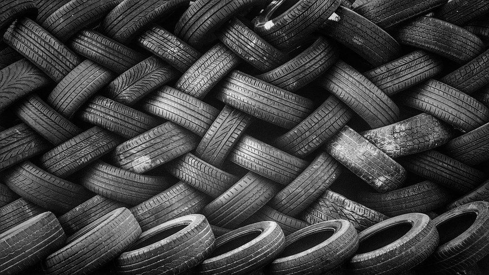 A stack of tires ready to be recycled.