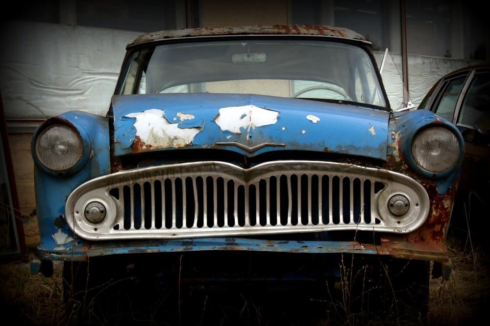 An old car in the junkyard